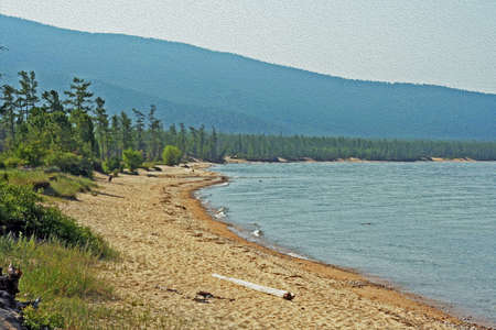 wild shores of Lake Baikal in Russian Siberia - sandy beach and forest in background,  stylized and filtered to resemble an oil painting