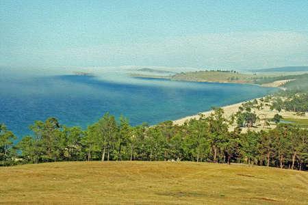 バイカル湖、ロシアのシベリア、モンゴルへ島の大気中の風景様式し、油絵のようにフィルタ リング