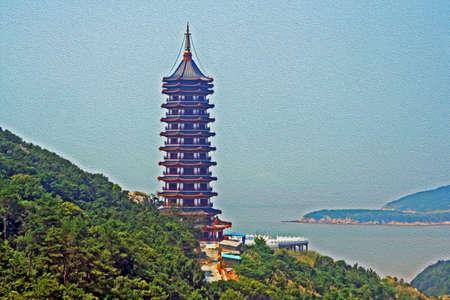 海と島、バック グラウンドで巨大な中国寺院様式し、油絵のようにフィルタ リング 写真素材