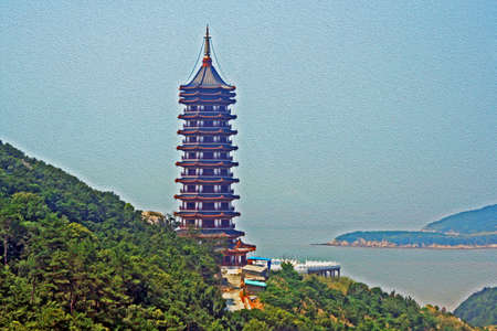 gigantic chinese pagoda with sea and island in background,  stylized and filtered to resemble an oil painting