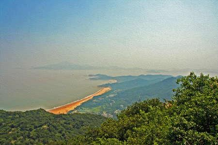 普陀島、中国の上から見て、様式化された、油絵のようにフィルタ リング、海と島の風景