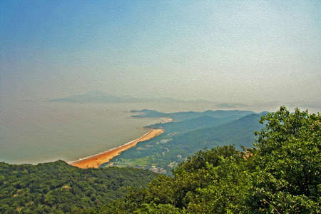 painting and stylized: sea and island landscape seen from the top of Putuo island, china,  stylized and filtered to resemble an oil painting Stock Photo