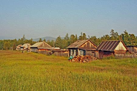 ロシアのシベリア バイカル湖、様式化された、油絵のようにフィルターの海岸でのリモート村で伝統的な木造住宅の行