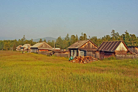 Row of traditional wooden houses in a remote village in Russian Siberia at the shores of Lake Baikal,  stylized and filtered to resemble an oil painting