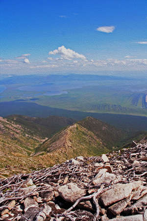 Vast view from the top of a mountain at the shores of Lake Baikal, Russian Siberia with stones and twigs in foreground, and mountains and lake in background, vertical,  stylized and filtered to resemble an oil painting