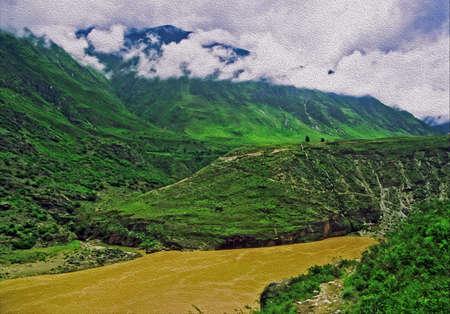 峡谷、川と緑の山々 の岩霧にむせぶ、様式化された、油絵のようにフィルタ リングとタイガー渓谷、雲南省、中国 - を跳躍のビンテージ写真 写真素材 - 36910955