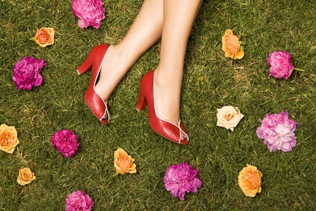 red shoes and flowers photo