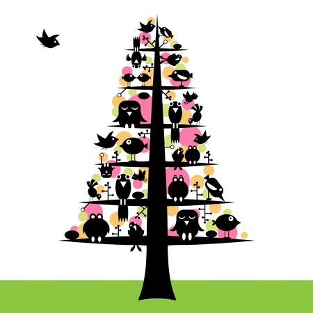 birds in tree: birds tree