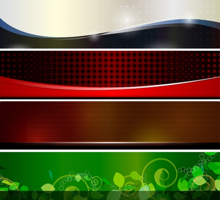 4 Banners for web site header or any graphic design Vector