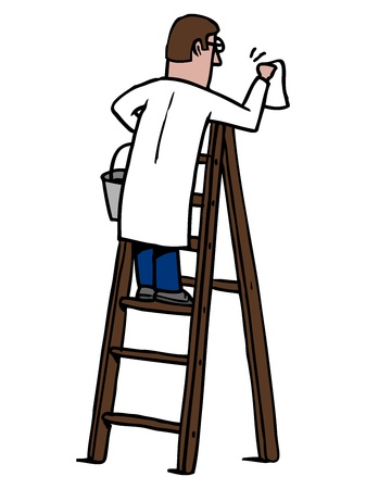 Man cleaning on a ladder  Stock Vector - 13177006