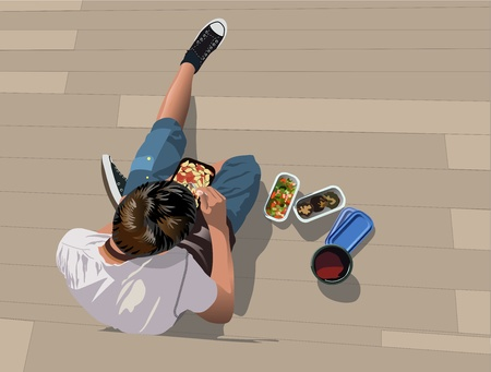 take away: Lunch break - Boy is eating take away food Illustration
