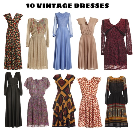 hanging clothes: 10 beautiful Dresses isolated - Vintage look