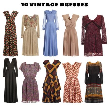 ropa colgada: 10 vestidos hermosos aisladas-look vintage Foto de archivo