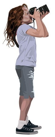Young Girl take a shot with a big Camera Illustration