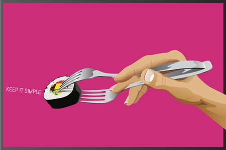 Sushi with forks as chopsticks - keep it simple concept Illustration