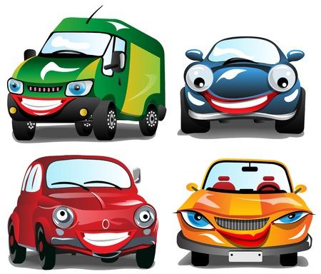 carro caricatura: Sonriendo de coches - 4 coches diferentes sonrientes en 4 colores
