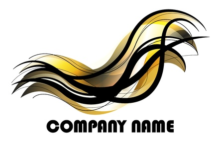 fluids: abstract gold and black design for logo Illustration