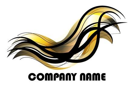 freedom logo: de oro abstracto y dise�o en negro para el logotipo Vectores
