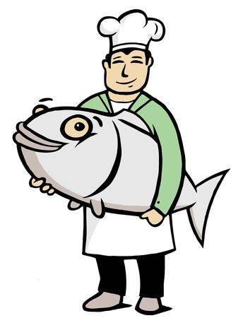 Chef con un pez grande en sus manos Ilustración de vector