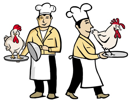 shef: Chef holding a chicken in his hands Illustration