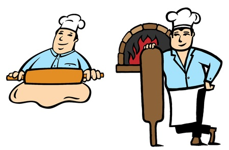 bakery oven: 2 positions of a Baker makes bread