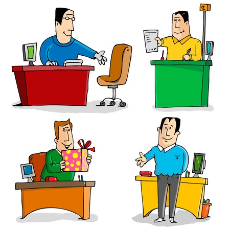 4 situations of workers in the Office  Vector