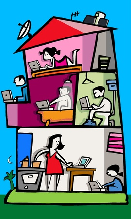 balcony view: A view Inside of a popular building - Funny illustration Illustration