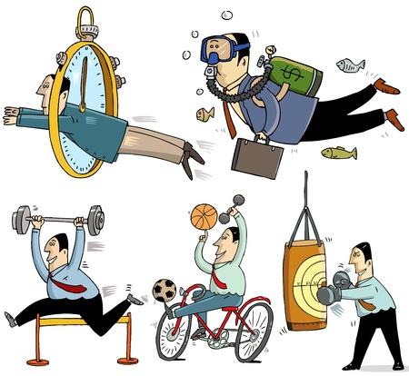 caricaturas de personas: 5 hombres de negocios y el concepto del deporte