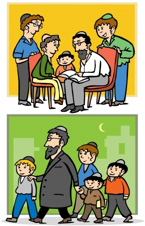 jewish faith: Jewish orthodox family - Father and his children Illustration
