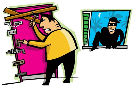 locked: Cartoon scene of thief break into house