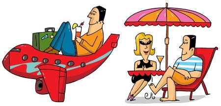 vacancier: Sc�nes de vacances - illustration dr�le de bande dessin�e
