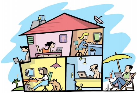 everyday people: A view Inside of a wireless  building 2 Illustration