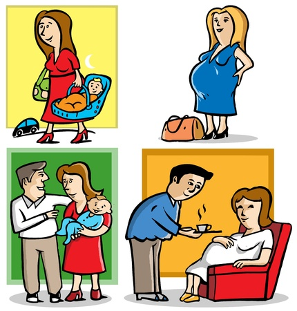 4 illustrations of mother in pregnant and a baby