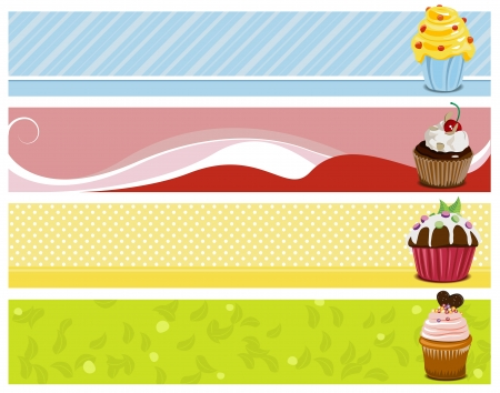 4 sweet headers with cupcakes Vector