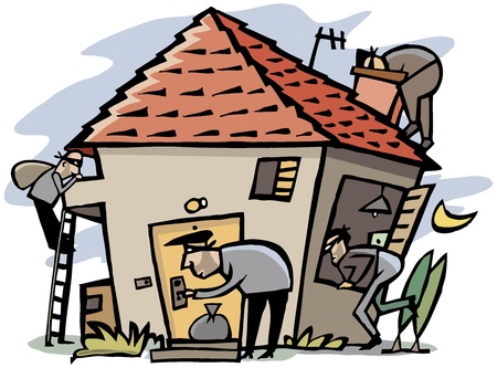 burglar man: Cartoon scene of 4 thieves break into house