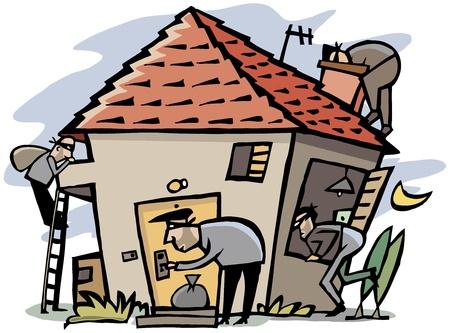 Scène de bande dessinée de 4 voleurs percent dans la maison Vecteurs