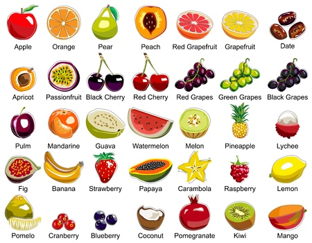 35 Fruits icons Vector