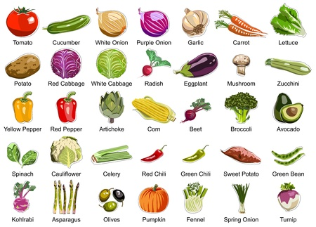 Collection of 35 Vegetables icons  Vector