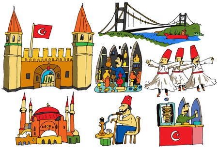 turkish flag: 7 authentic caricatures of turkish scenes Illustration