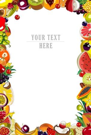 Achtergrond gemaakt van 35 kleurrijke vruchten