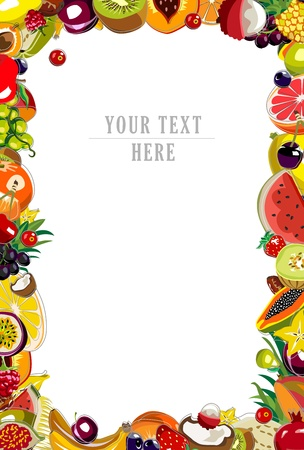 Background made of 35 colorful fruits Vector