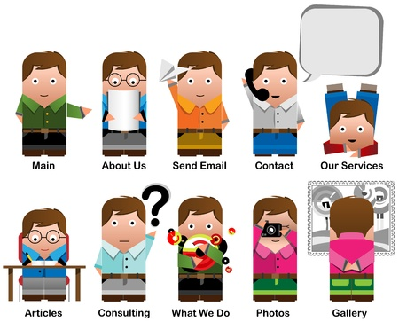 10 characters icons for categories in web site Vector