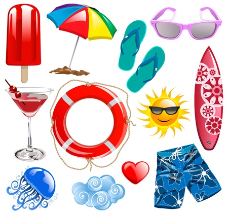 summer time: Summer time vector collection elements 1 Illustration