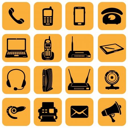 Vector Set of 16 telecommunication icons