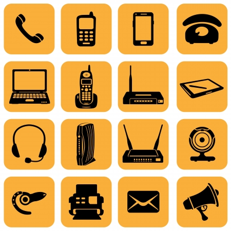 telecom: Vector Set of 16 telecommunication icons