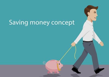 Man take for a walk his piggy bank  Illustration