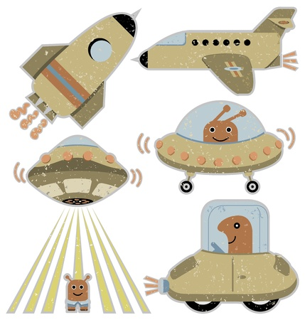 Set of cute spaceships and transportation vehicles in retro style Vector
