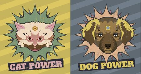 Cute cat and dog jump out of stars in a retro look Vector