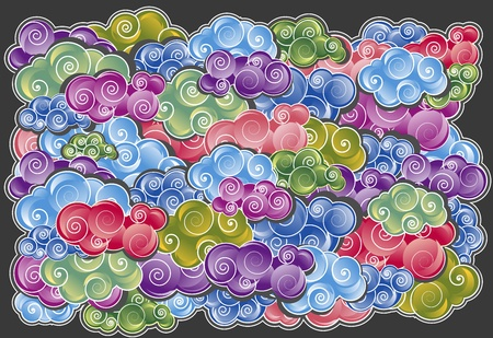Dreamy colorful clouds for background design Vector
