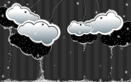fiambres: nubes de invierno de papel en una oscura pared gris con rayas